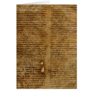 Texto com escrita antiga, papel velho do pergaminh cartoes