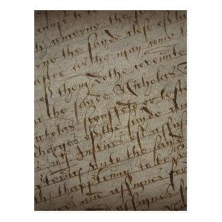 Texto com escrita antiga, papel velho do pergaminh cartoes postais