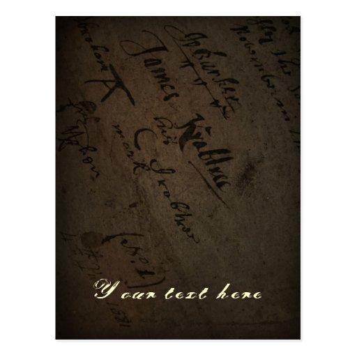 Texto com escrita antiga, papel velho do pergaminh cartao postal