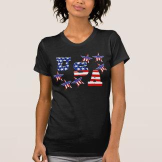 Texto da bandeira americana dos EUA com estrelas & T-shirt