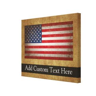 Texto da bandeira americana w/Custom do vintage Impressão De Canvas Esticadas