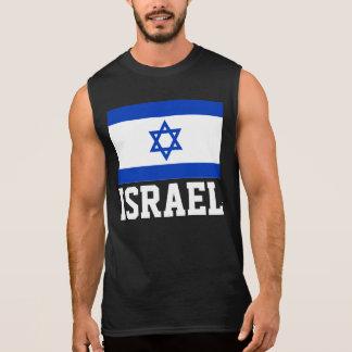 Texto da bandeira do mundo de Israel Camisas Sem Manga