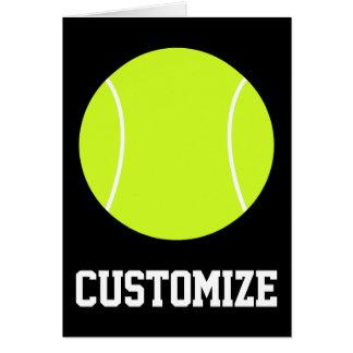 Texto da bola de tênis & cartão feitos sob