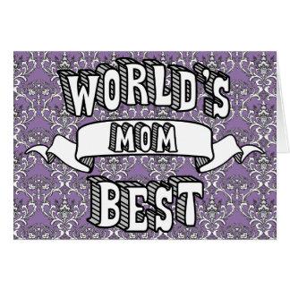 Texto da tipografia da mamã do mundo cartão floral