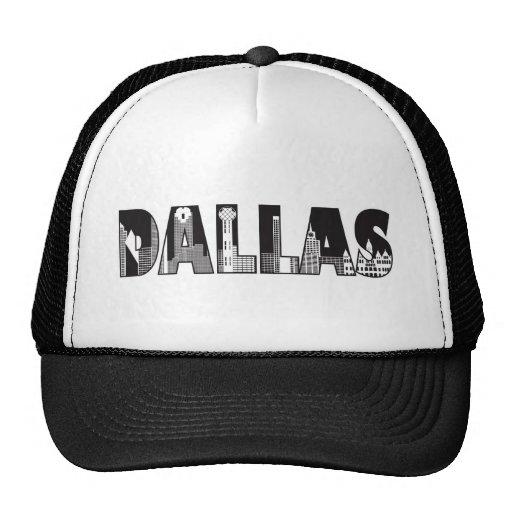 Texto de Dallas com roupa do esboço das construçõe Bonés