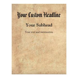 Texto de papel antigo do costume do fundo flyer 21.59 x 27.94cm