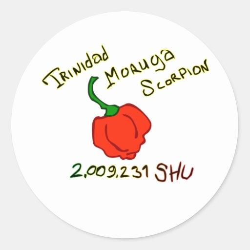 Texto de w do pimentão do escorpião de Trinidad Adesivo Em Formato Redondo