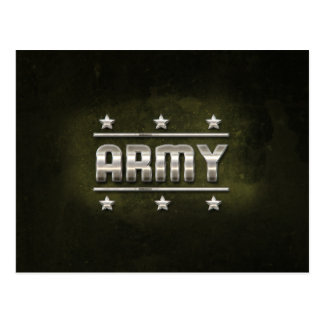 Texto do exército do metal cartão postal