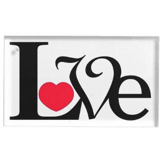 Texto do rico do coração do amor suportes para cartoes de mesa