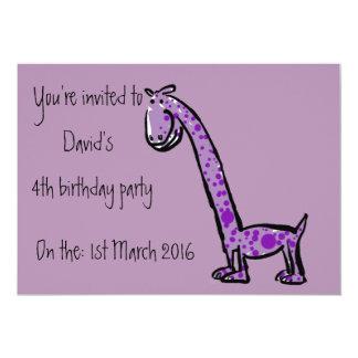 Texto do roxo do dinossauro dos desenhos animados convite 12.7 x 17.78cm