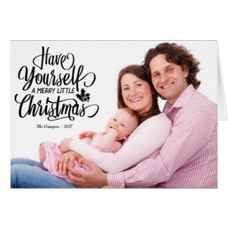 Texto preto alegre poucos cartões de foto de Natal