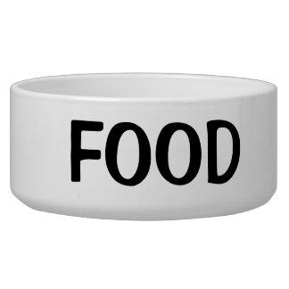 Texto preto simples da comida tigela