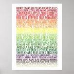Texto saudável das frutas e legumes do arco-íris c poster