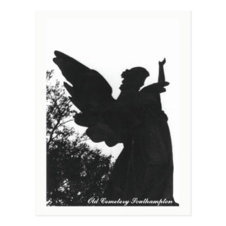 Texto velho do cartão do cemitério da estátua