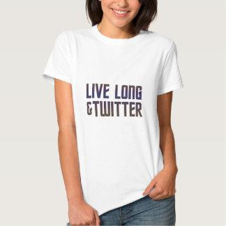 Texto vivo longo & do Twitter T-shirt