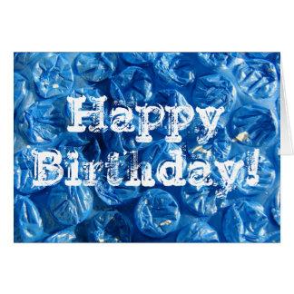 Textura azul da bolha, feliz aniversario! cartão comemorativo