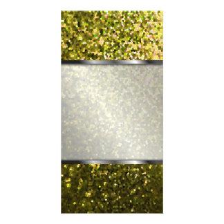 Textura da faísca do mosaico do ouro do cartão com cartoes com foto