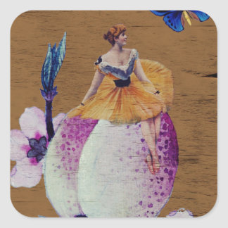 Textura da madeira da flor da mulher do vintage adesivo quadrado