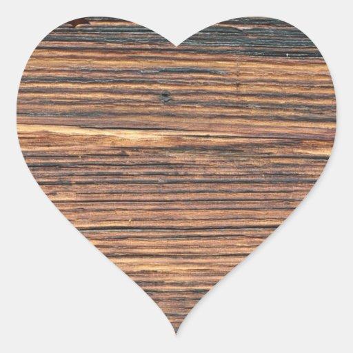 Textura da madeira de Brown Adesivos Em Forma De Corações
