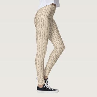 Textura de confecção de malhas bege leggings