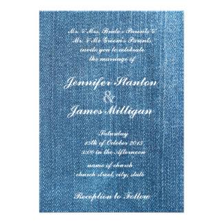 Textura de jeans convites personalizado