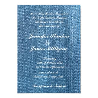 Textura de jeans convite 12.7 x 17.78cm