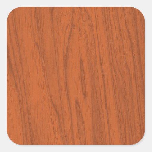 Textura de madeira alaranjada bonita adesivo quadrado