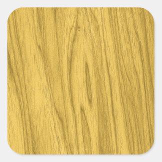 Textura de madeira amarela escura bonita adesivo quadrado