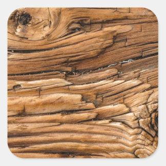 Textura de madeira adesivo em forma quadrada