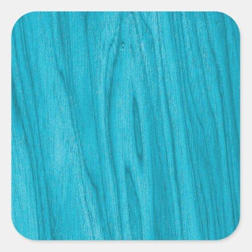 Textura de madeira ciana bonita adesivo quadrado