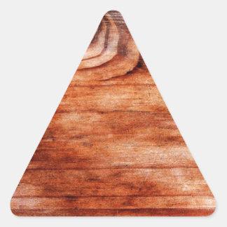 Textura de madeira da grão adesivo em forma de triângulo