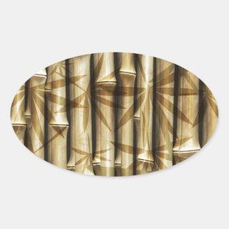 Textura de madeira de bambu adesivos ovais