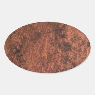 Textura de madeira de mogno do Burl Adesivos Oval