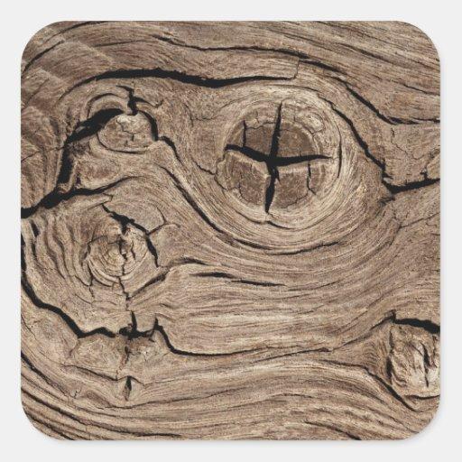 Textura de madeira do falso dos nós adesivo em forma quadrada