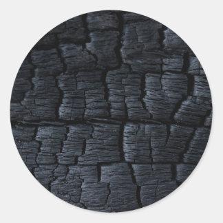 Textura de madeira queimada adesivo em formato redondo