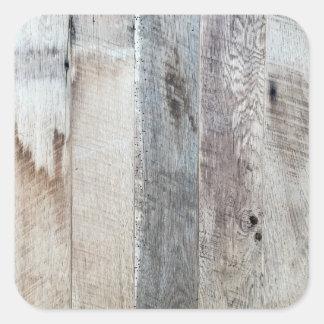 Textura de madeira resistida do fundo da prancha adesivo quadrado
