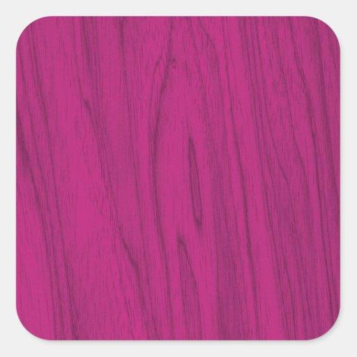Textura de madeira rústica cor-de-rosa de Fushia Adesivo Quadrado