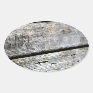Textura de madeira velha adesivos ovais