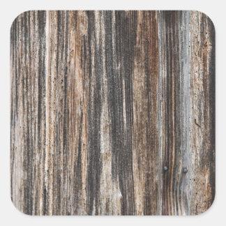 Textura de madeira velha da parede adesivo em forma quadrada