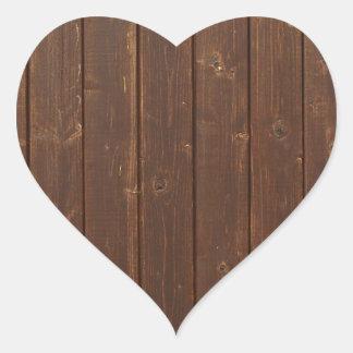 Textura de madeira velha da parede de Brown Adesivo Coração