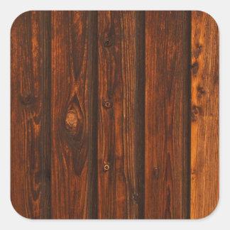 Textura de madeira vermelha da parede adesivo em forma quadrada