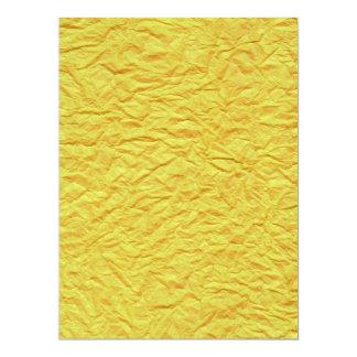 Textura de papel amarela enrugada convite 16.51 x 22.22cm