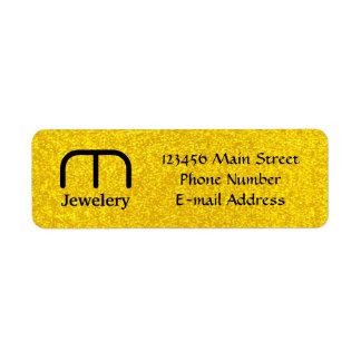 Textura do brilho do ouro etiqueta endereço de retorno