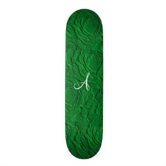 Textura do falso dos rosas verdes do monograma skates