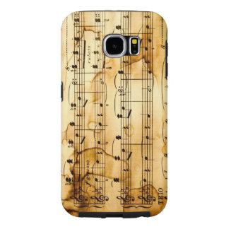 textura do vintage com notas musicais capa para samsung galaxy s6