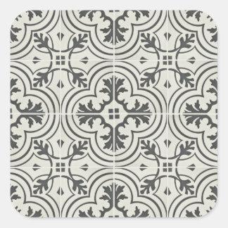 textura ornamentado preta e de creme do teste adesivo quadrado