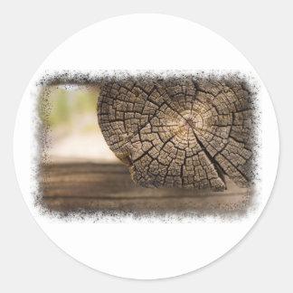 Texturas velhas da madeira da cabine adesivos em formato redondos