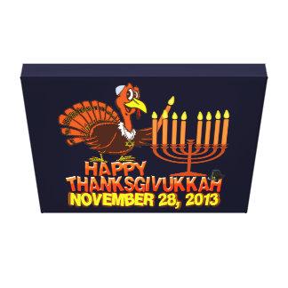 Thanksgivukkah feliz esticou o impressão das canva impressão de canvas envolvidas