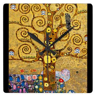 """ The Tree of Life "" , Gustav Klimt Relógio Quadrado"