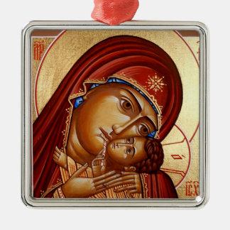 Theotokos Ornamento Quadrado Cor Prata
